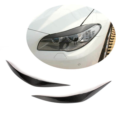 For BMW 5 Series F10 Base Sedan Pre-LCI 10-13 Carbon Fiber Headlight Eyebrows Lamp Eyelids