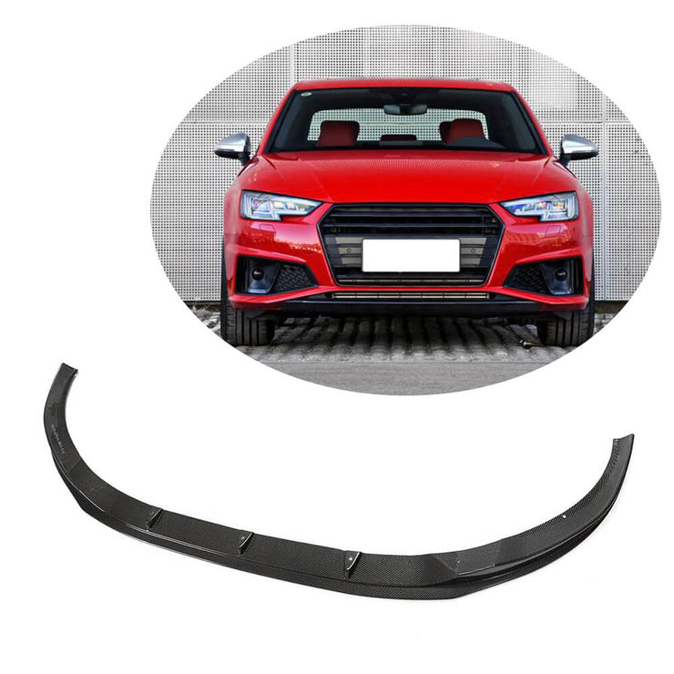 For Audi S4 A4 B9 Sline Sedan 17-20 Carbon Fiber Front Bumper Lip Splitter Chin Spoiler