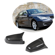 For BMW 5 Series E60 E61 Sedan Wagon 08-10 Carbon Fiber Side Rearview Mirror Cover Caps LHD Pair