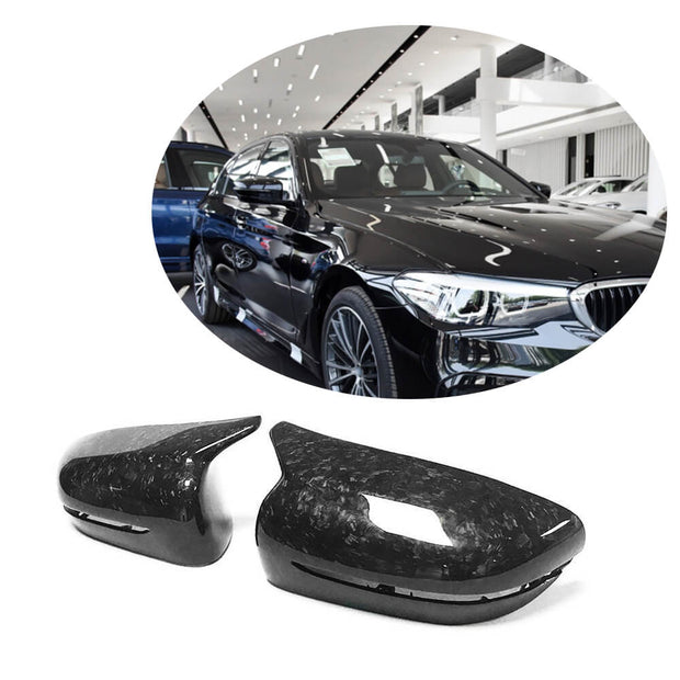 For BMW G30 G11 G14 G15 G16 18-19 Forged Carbon Fiber Side Rearview Mirror Cover Caps LHD Pair