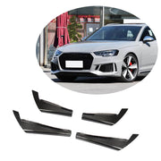 For Audi A4 B9 Base Sedan 17-20 Carbon Fiber Front Bumper Fins Air Vent Canards Body Kits