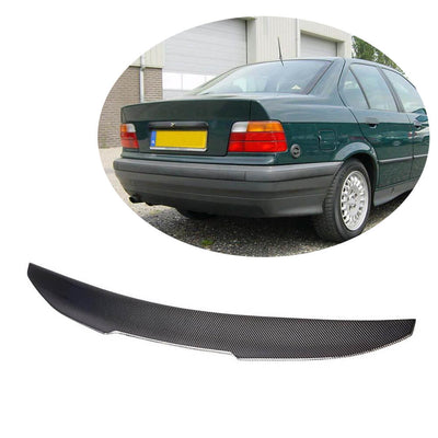 For BMW 3 Series E36 Sedan 91-98 Carbon Fiber Rear Trunk Spoiler Boot Wing Lip