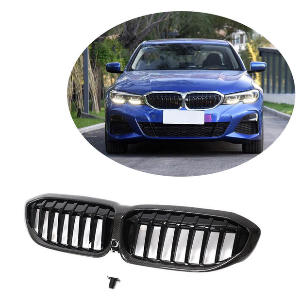 For BMW 3 Series G20 Sedan 19UP Carbon Fiber Front Grille Frame Bumper Grill Outline Trim Decoration Emblem