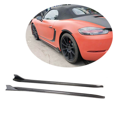 For Porsche 718 Boxster Cayman 16-19 Carbon Fiber Side Skirts Door Rocker Panels Extension Lip