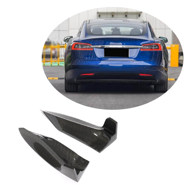 For Tesla Model S Sedan 16-19 Carbon Fiber Rear Bumper Splitter Cupwing Winglets Vent Flaps