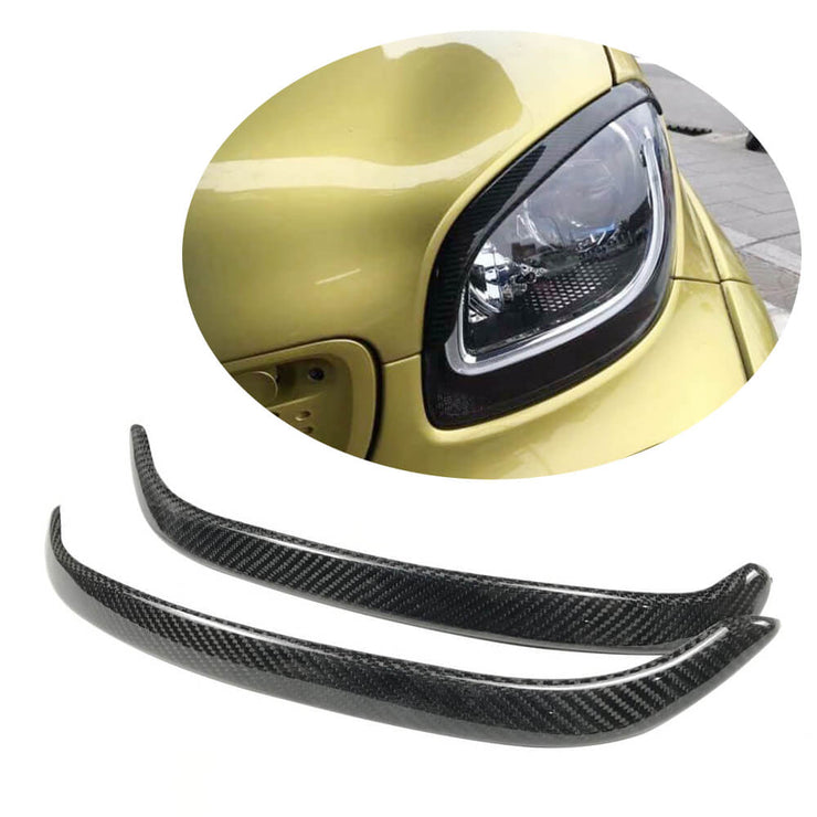 For Mercedes Benz Smart Fortwo 16-19 Carbon Fiber Headlight Eyebrows Lamp Eyelids