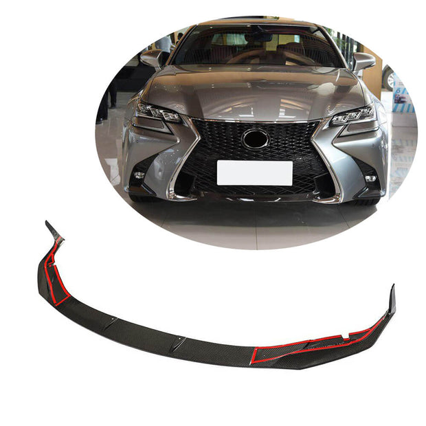 For Lexus GS F Base Sedan 16-20 Carbon Fiber Front Bumper Lip Chin Spoiler Body Kit