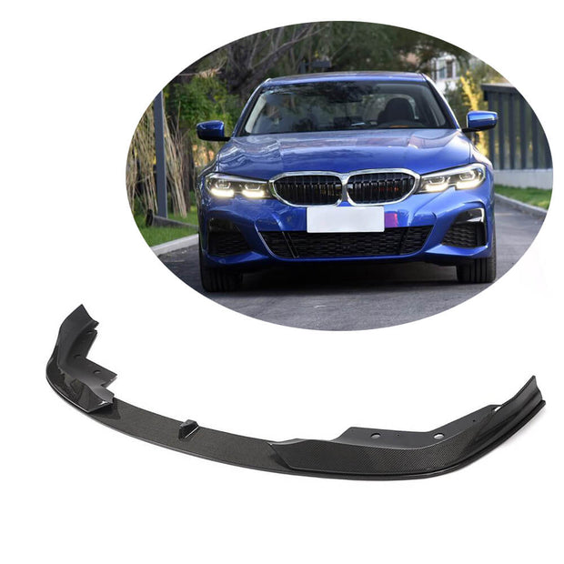 For BMW 3 Series G20 M Sport Sedan 19UP Carbon Fiber Front Bumper Lip Chin Spoiler Body Kit