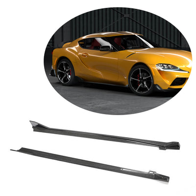 For Toyota Supra J29 Coupe 19-20 Carbon Fiber Side Skirts Door Rocker Panels Extension Lip