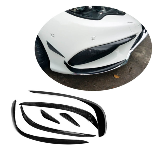 For Mercedes Benz W212 Sport Sedan 14-16 Carbon Fiber Front Bumper Canards Air Fender Vent Fins