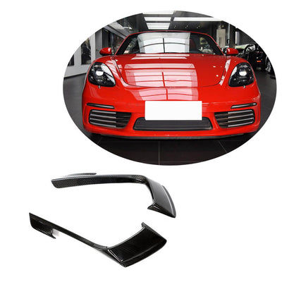 For Porsche 718 Boxster Cayman 16-19 Carbon Fiber Front Bumper Fog Light Air Vent Canards