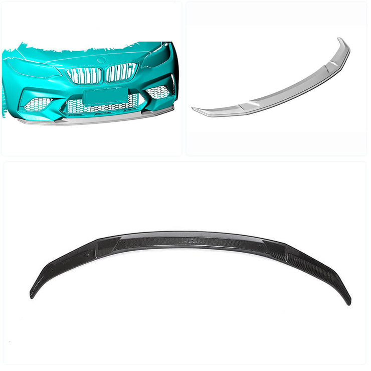 For BMW 2 Series F87 M2 Competition M2C Coupe 18-20 Carbon Fiber Front Bumper Lip Chin Spoiler Splitter