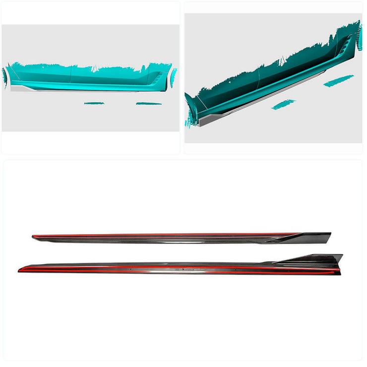 For BMW 6 Series G32 M-Sport GT 17-20 Carbon Fiber Side Skirts Door Rocker Panels Extension Lip