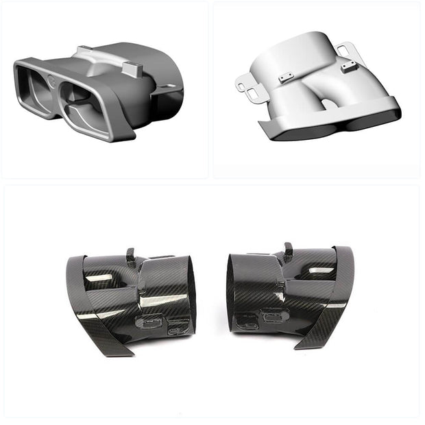 For Mercedes Benz W205 C205 A205 C63 AMG 15-19 Carbon Fiber Exhaust Pipe Tips 2-Door 4-Door