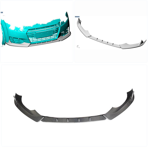 For Audi TT Mk3 Base 2-Door 15-19 Carbon Fiber Front Bumper Lip Chin Spoiler