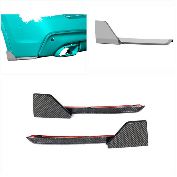 For BMW X3 G01 M40i Sport Utility 18-20 Carbon Fiber Rear Bumper Splitter Cupwing Winglets Vent Flaps