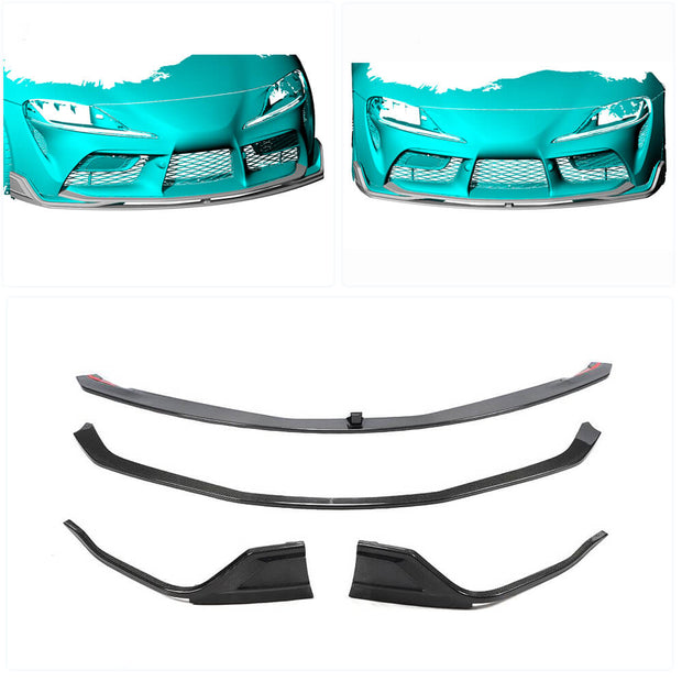 For Toyota Supra J29 Coupe 19-20 Carbon Fiber Front Bumper Lip Chin Spoiler Body Kit