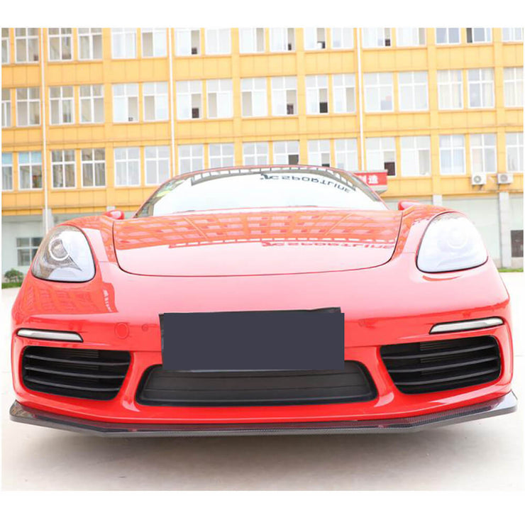 For Porsche 718 Boxster Cayman 16-19 Carbon Fiber Front Bumper Lip Chin Spoiler Body Kit