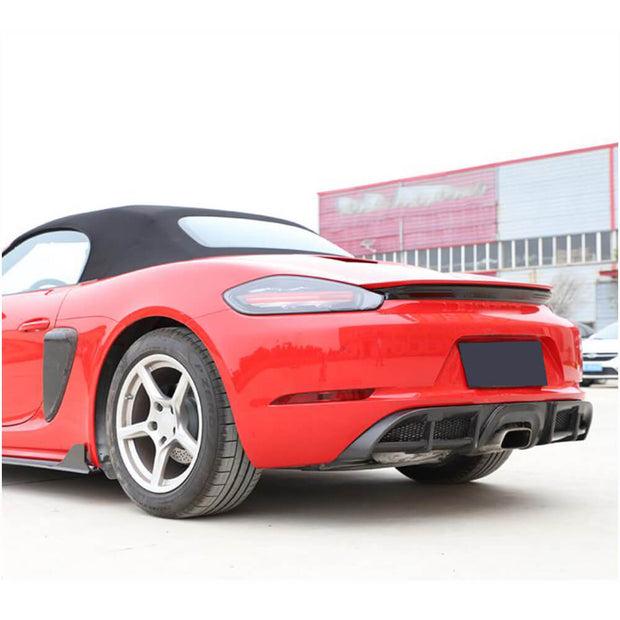 For Porsche 718 Boxster Cayman 16-19 Carbon Fiber Rear Bumper Diffuser Body Kit