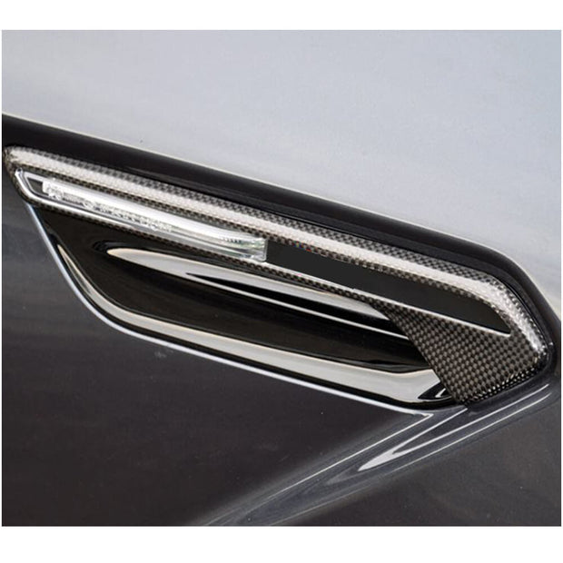For BMW 6 Series F06 F12 F13 M6 2-Door 4-Door 13-18 Real Dry Carbon Fiber Side Lamp Air Fender Vent Cover Trims