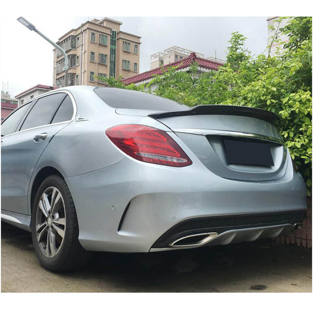 For Mercedes Benz W205 Sedan 15-19 Carbon Fiber Rear Trunk Spoiler Boot Wing Lip