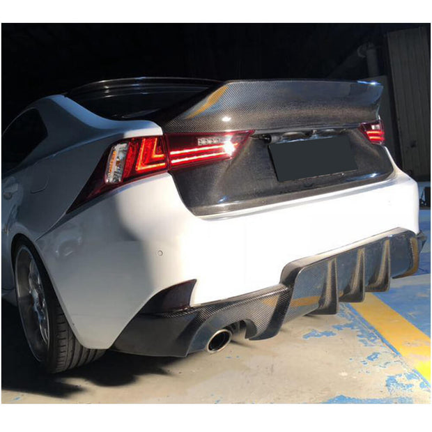 For Lexus IS F 13-14 IS200t IS250 IS300 IS350 Base & F Sport 13-16 Sedan Carbon Fiber Rear Bumper Diffuser Body Kit