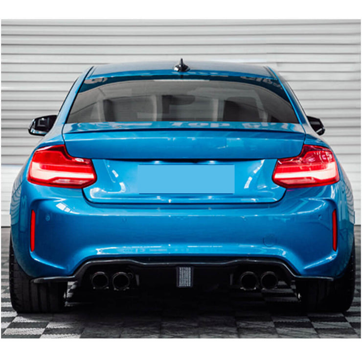 For BMW 2 Series F87 M2 M2C Coupe 16-20 Carbon Fiber Rear Bumper Diffuser Body Kit with LED