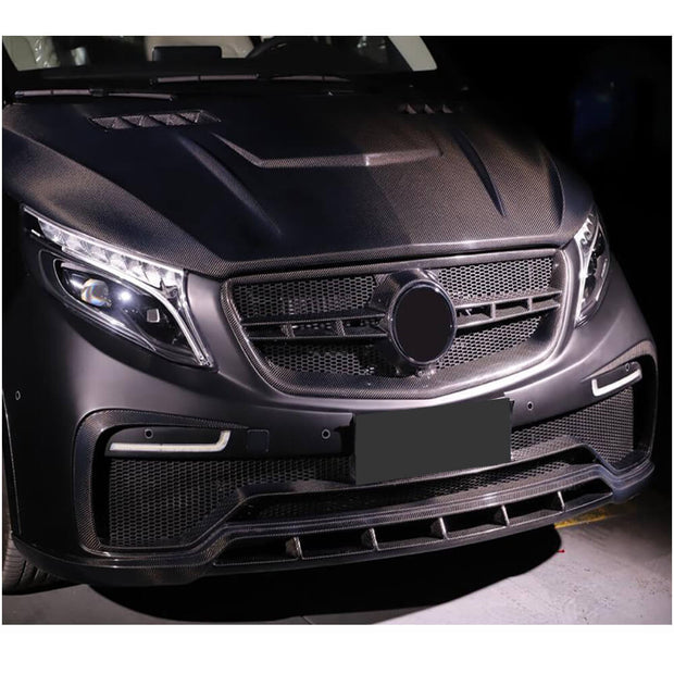 For Mercedes Benz V Class W447 Vito 15-19 Carbon Fiber Front Bumper with Chin Lip Spoiler Body Kit