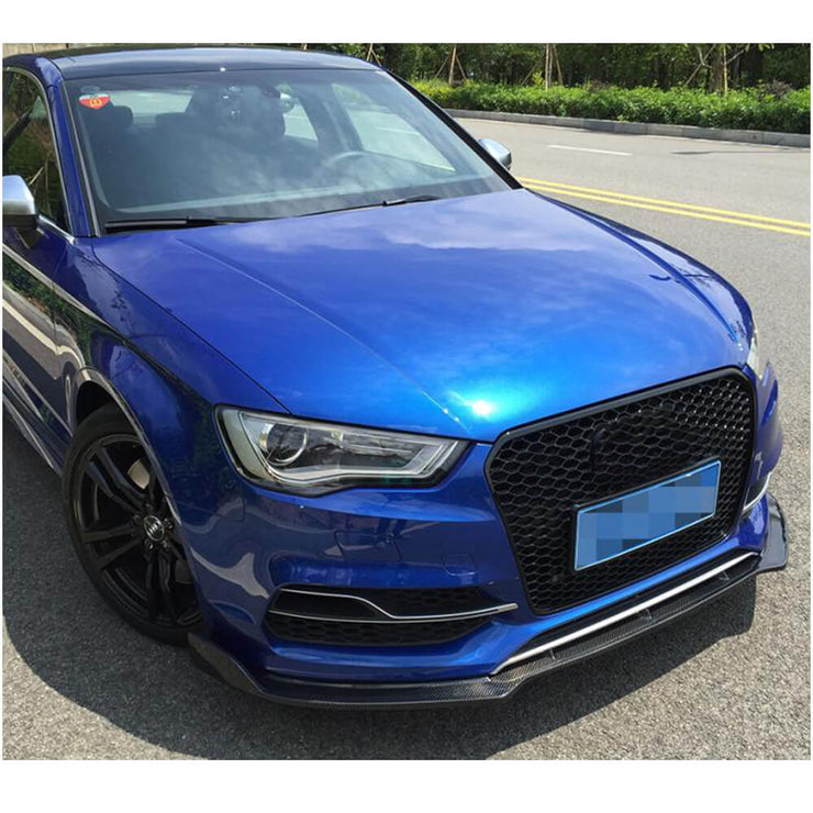 For Audi S3 A3 Sline Sedan 14-16 Carbon Fiber Front Bumper Lip Spoiler Body Kit