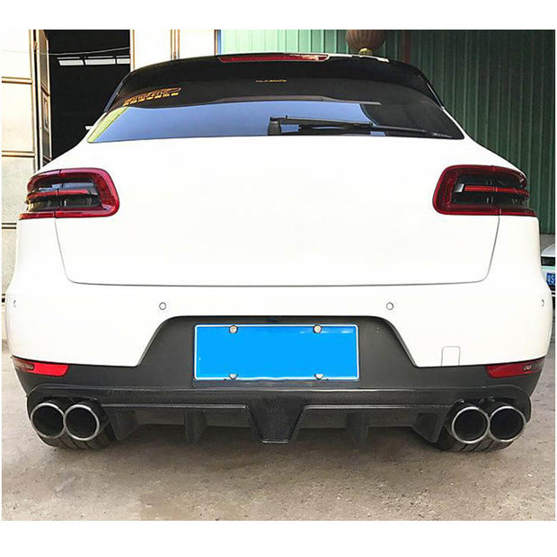 For Porsche Macan Sport Utility 14-20 Carbon Fiber Rear Bumper Diffuser With Light Body Kit