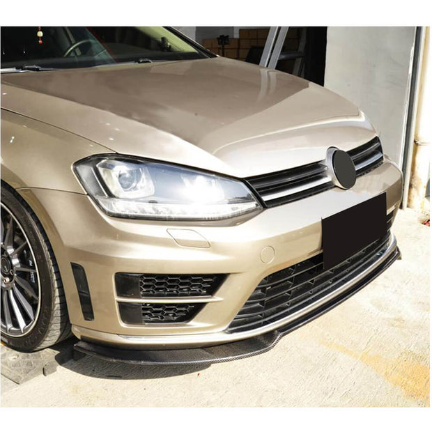 For Volkswagen VW Golf 7 MK7 R R-line Hatchback 14-16 Carbon Fiber Front Bumper Lip Spoiler
