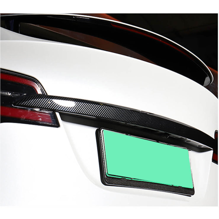 For Tesla Model X Sport Utility 16-19 Carbon Fiber Rear Trunk Tail Cover Trim