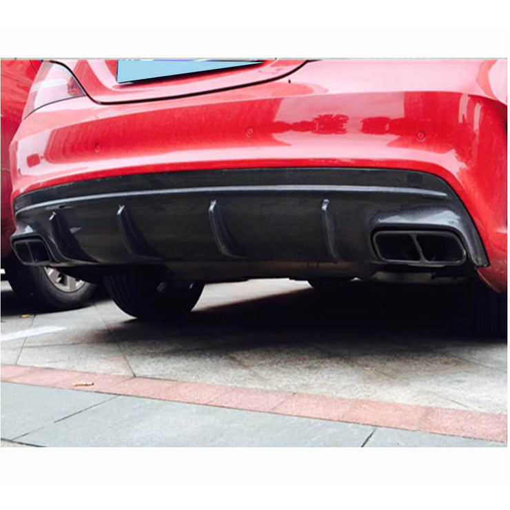 For Mercedes Benz W117 C117 Sport CLA45 AMG Sedan 13-19 Carbon Fiber Rear Bumper Diffuser Body Kit