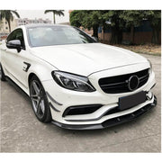 For Mercedes Benz W205 C63 AMG Sedan 15-19 Carbon Fiber Front Bumper Lip Chin Spoiler Body Kit
