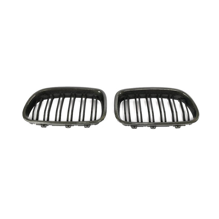 For BMW 5 Series F10 Base/M Sport M5 Sedan 11-18 Carbon Fiber Front Grille Frame Bumper Grill Outline Trim Decoration Emblem