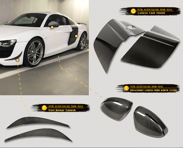 For Audi R8 2008-2015 Auto Carbon Fiber Package Wide Body Kit