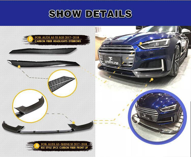 For Audi S5 A5 B9 Sline Sportback 17-20 Auto Carbon Fiber Package Wide Body Kit