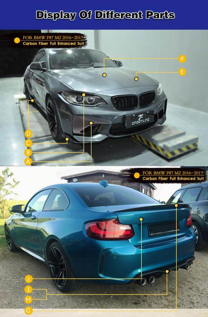 For BMW 2 Series F87 M2 Coupe 16-20 Auto Carbon Fiber Package Wide Body Kit