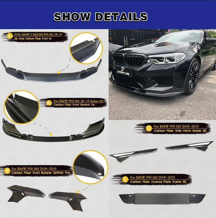 For BMW 5 Series F90 M5 Sedan 18-20 Auto Carbon Fiber Package Wide Body Kit