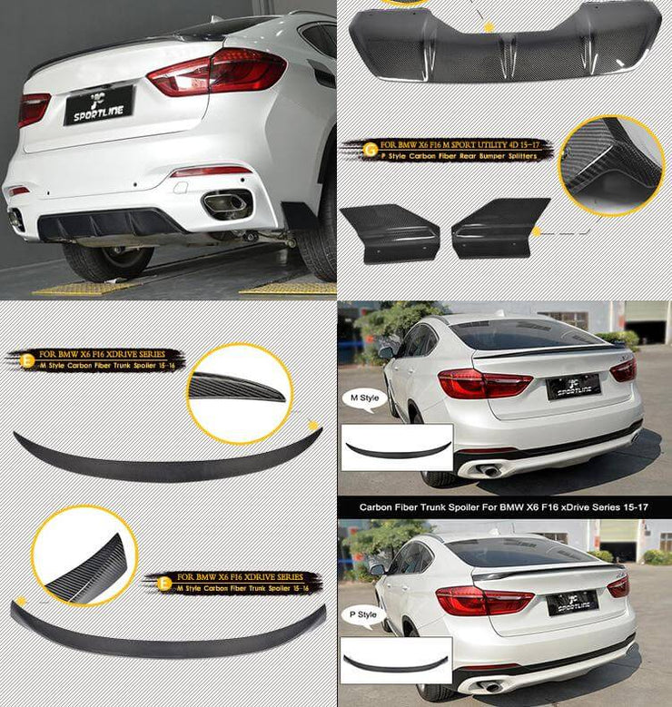 For BMW X6 F16 M Sport Sport Utility 15-19 Auto Carbon Fiber Package Wide Body Kit