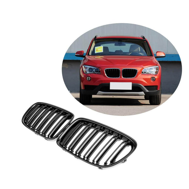 For BMW X1 E84 Sport Utility 11-15 Carbon Fiber Front Grille Frame Bumper Grill Outline Trim Decoration Emblem
