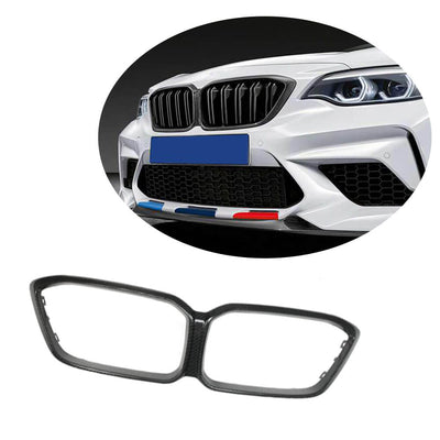 For BMW 2 Series F87 M2 Competition M2C Coupe 18-20 Dry Carbon Fiber Front Grille Frame Bumper Grill Outline Trim Decoration Emblem