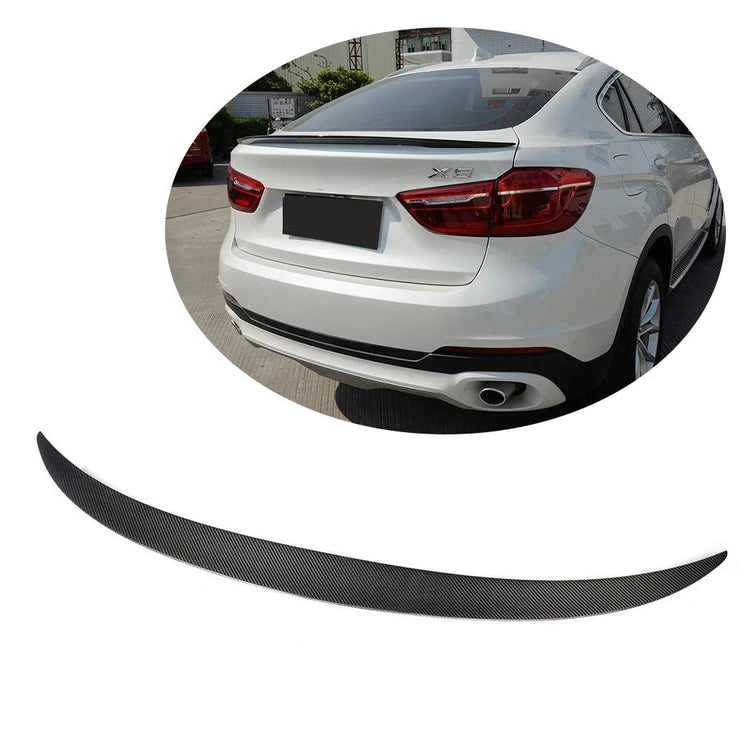 For BMW X6 F16 Sport Utility 15-19 Carbon Fiber Rear Trunk Spoiler Boot Wing Lip