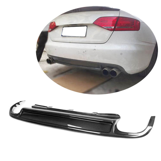 For Audi A4 B8 Base Sedan Pre-facelift 09-12 Carbon Fiber Rear Bumper Diffuser Body Kit