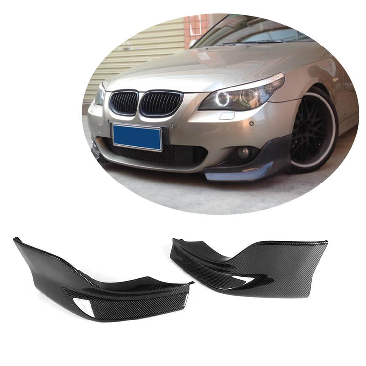 For BMW 5 Series E60 M Sport Sedan 04-10 Carbon Fiber Front Bumper Splitter Cupwing Winglets Vent Flaps