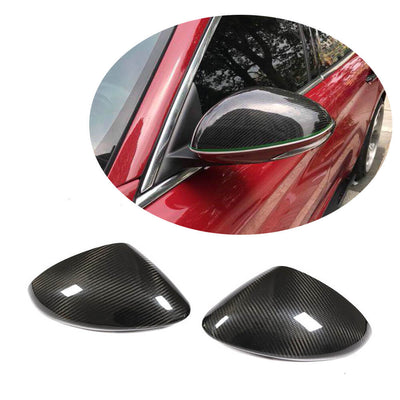 For Alfa Romeo Stelvio Sport Utility 17-19 Carbon Fiber Side Mirror Cover Caps Pair