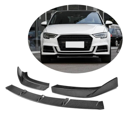 For Audi S3 A3 Sline Sedan 17-20 Carbon Fiber Front Bumper Lip Chin Spoiler Body Kit
