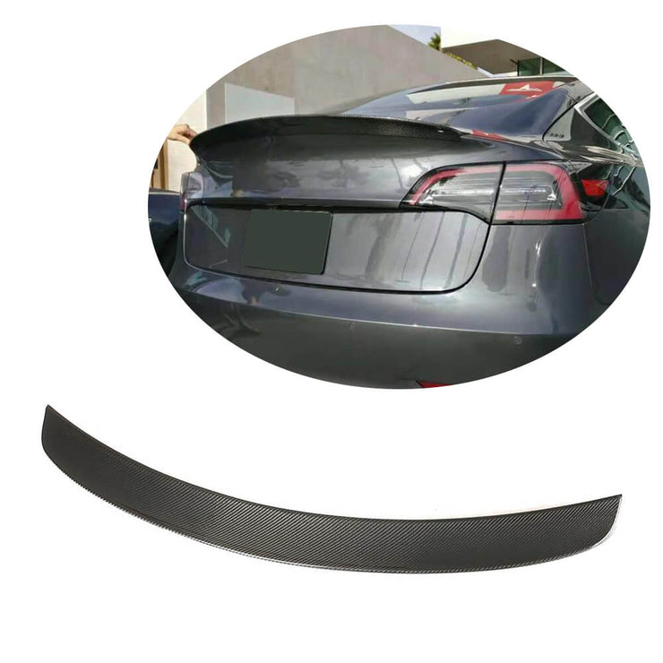 For Tesla Model 3 Sedan 16-20 Carbon Fiber Rear Trunk Spoiler Boot Wing Lip