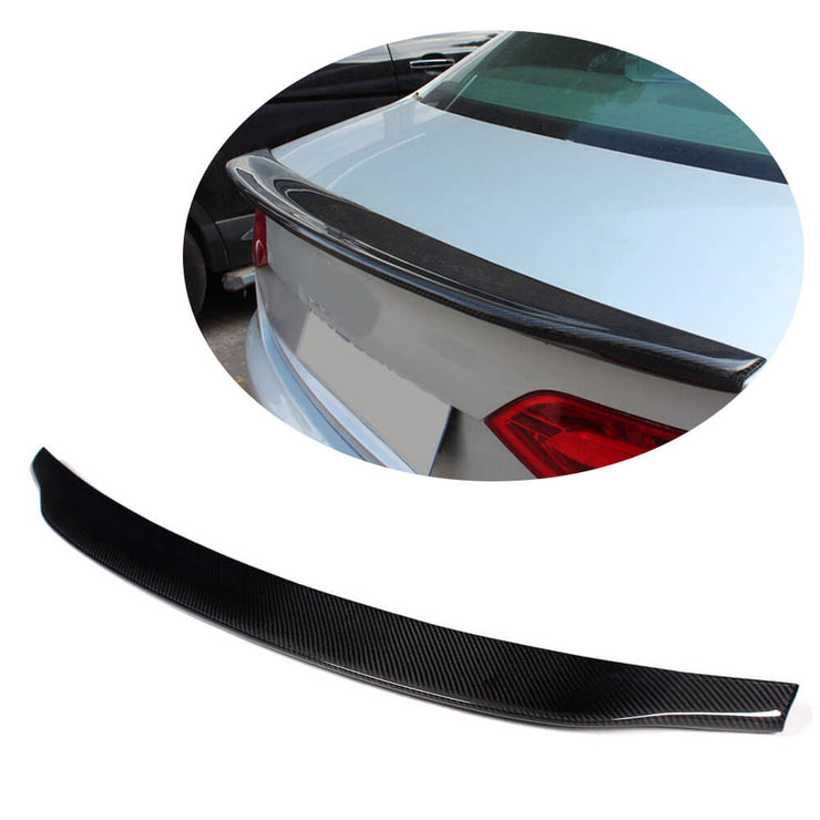 For Audi A4 B8 Base Sedan Pre-facelift 09-12 Carbon Fiber Rear Trunk Spoiler Boot Wing Lip