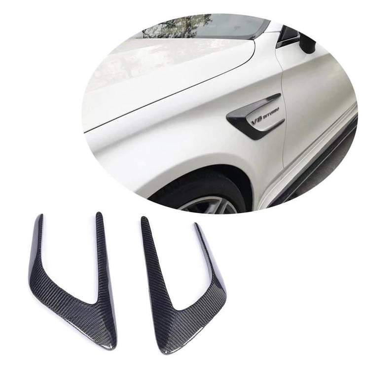 For Mercedes Benz W205 C205 A205 C63 AMG 15-19 Carbon Fiber Front Fender Vents Trims